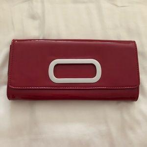 Aldo red patent clutch